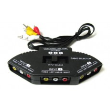 3-Way Audio Video AV RCA Black Selector Box Splitter with/3 RCA Cable